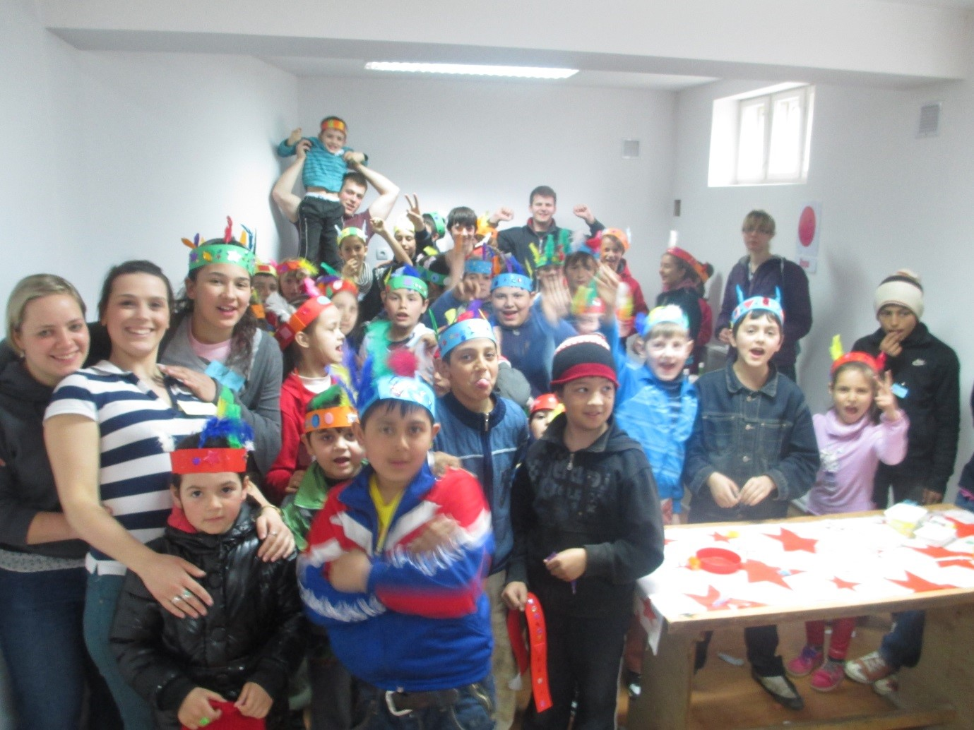 Craft at the children's programme during the Spring mission
